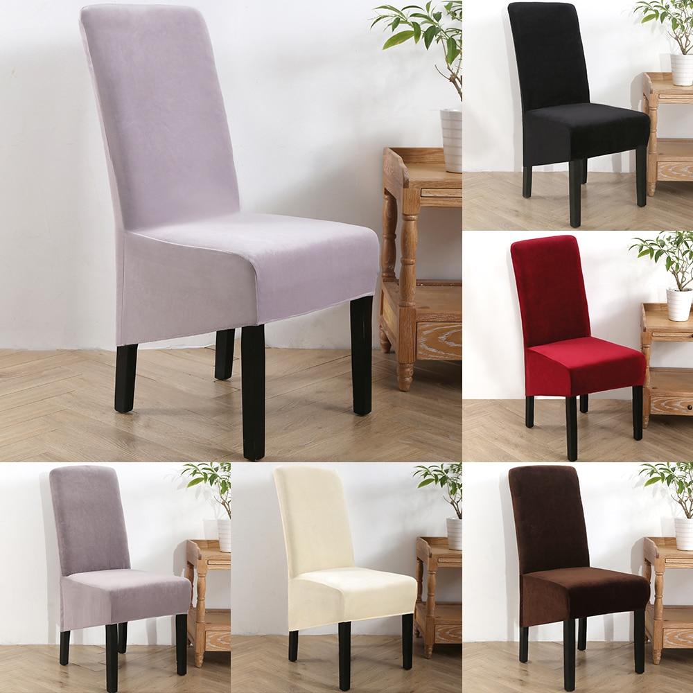 Чехлы для стульев, бархатные Стрейчевые Чехлы для столовой, сплошной цвет, спандекс, плюшевые чехлы для стульев, протектор для дома, столовой|Чехлы на стулья|   | АлиЭкспресс