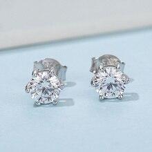 925 Silver 0.5 carat D Color Moissanite Earrings Brilliant Cut Round Moissanite Diamond Stud Earrings for Women Classic Jewelry