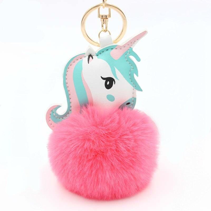 1Pcs Lovely Unicorn Plush Toy Faux Rabbit Fur Ball Pompom Stuffed Animal For Kid Mini Cute Toy Gift Keychain Baby Doll Key Chain