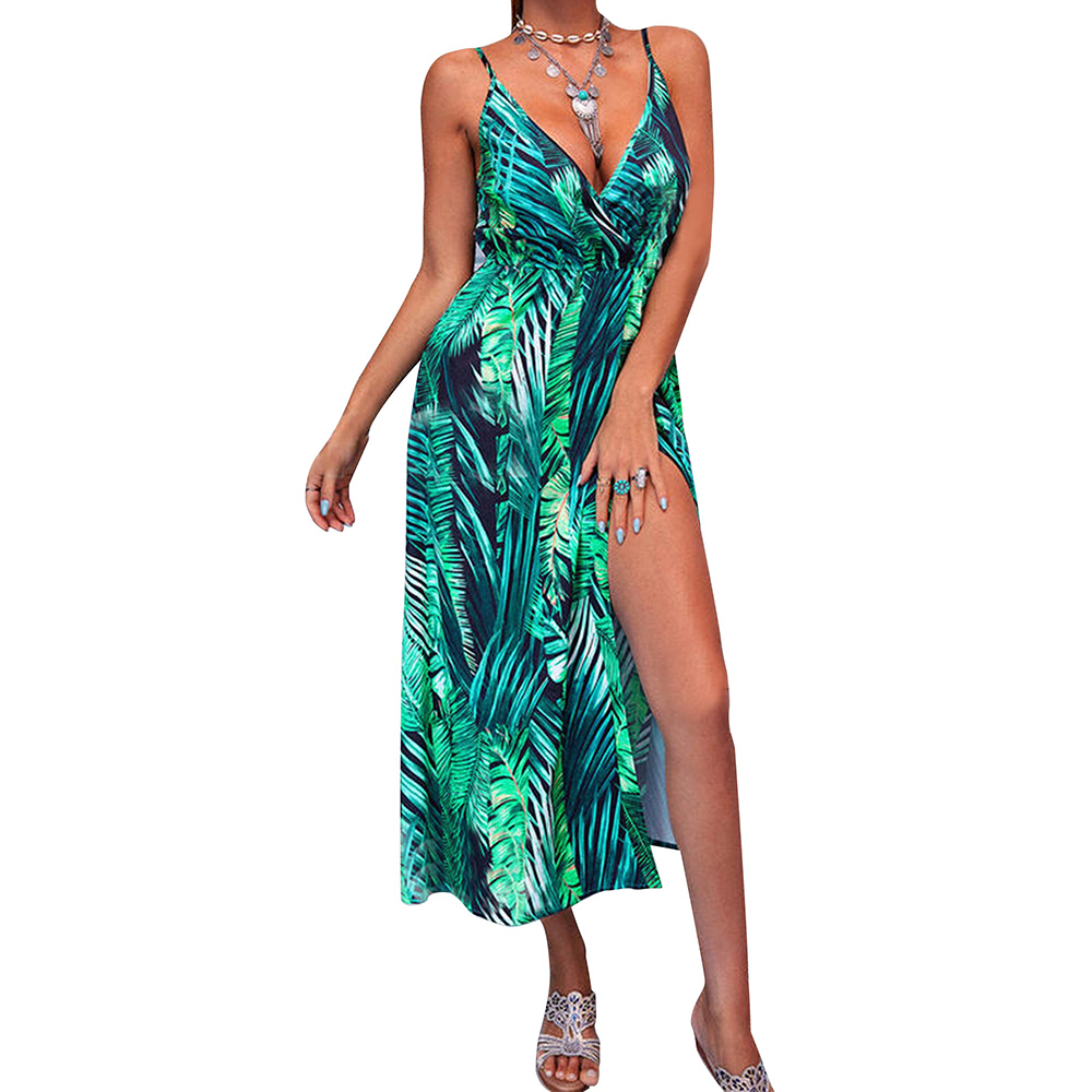 Bohemian Women Plu Size Maxi Dress Sleeveless V Neck Print Slit Hem Long Dress Femme Summer Elegant Party Dresses Vestidos D30