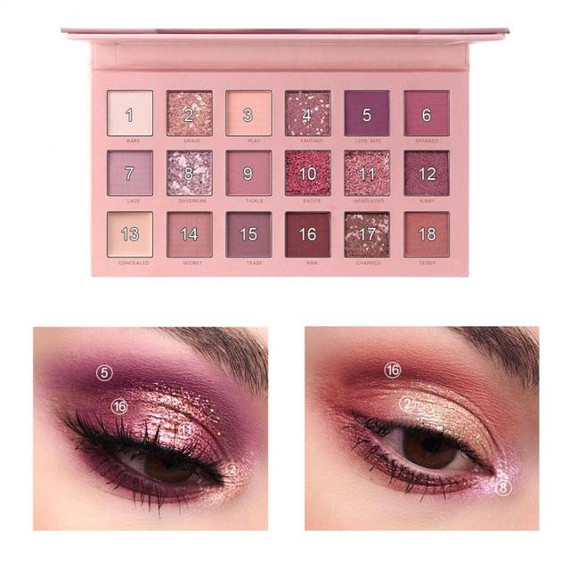 NEW 18 Colors nude eyeshadow pallete matte eye shadow makeup pallete Pigment Cosmetics waterproof glitter eyeshadow TSLM1 3