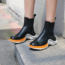 Individual design brand platform leather ankle boots for women fashion woman wedges round toe autumn booties mujer