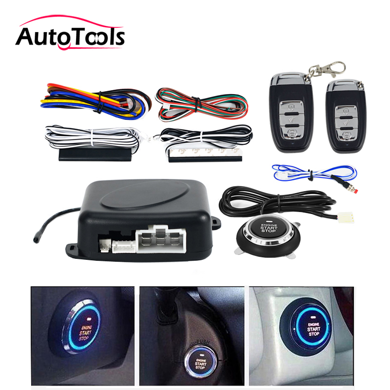 Auto car One start stop engine system with remote control Car PKE keyless entry start system open trunk for 12V SUV autostart