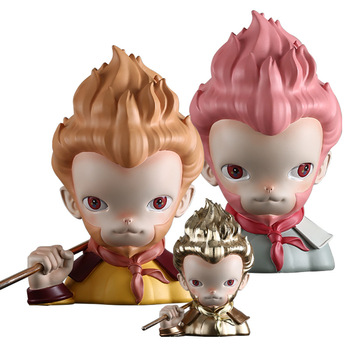 Four Great Classical Novels The Journey to the West The Monkey King Q Version Head Portraits Resin Statue Home Ornaments X3215