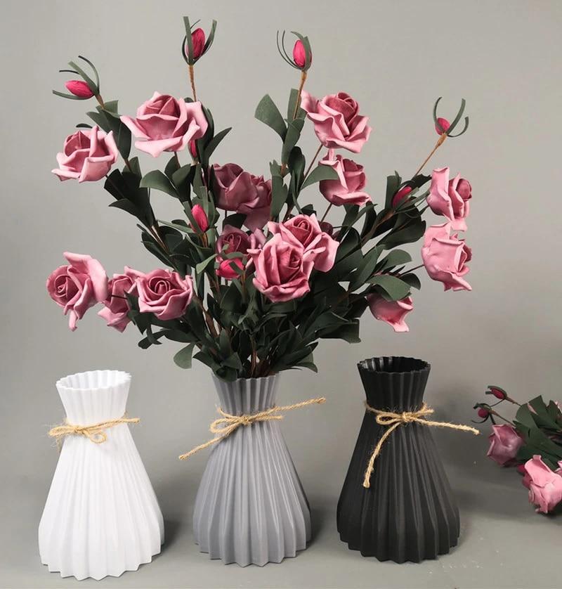 Vas Dekorasi Rumah Tangga Plastik Vas Putih Rotan Baru Pinggang Vas Kerajinan Vas Dekorasi Rumah Keranjang Gadis Bunga Untuk Pernikahan Vas Aliexpress