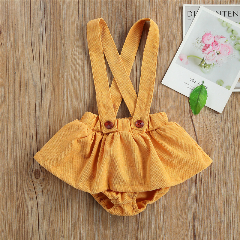 Toddler Baby Girl Clothing Cute Yellow Solid Color Sleeveless Overalls with Strap Button Culottes Infant Baby Girl Summer Outfit