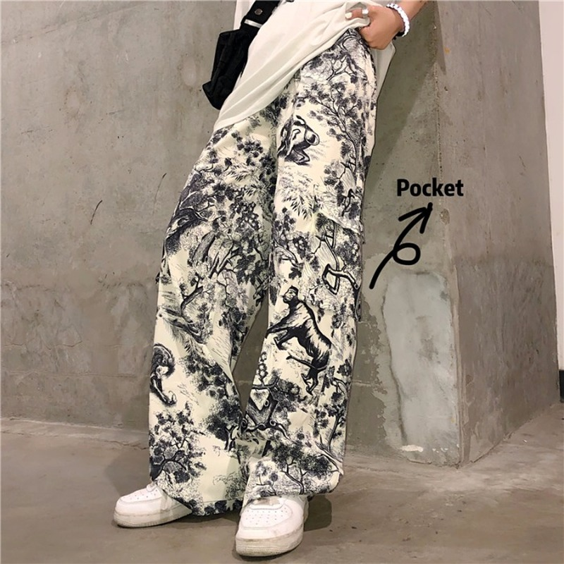Graffiti Print Vintage Pants For Women Korean Punk Trouser Women Pocket Jogger Mujer Harajuku Streetwear Hip Hop Track Pant
