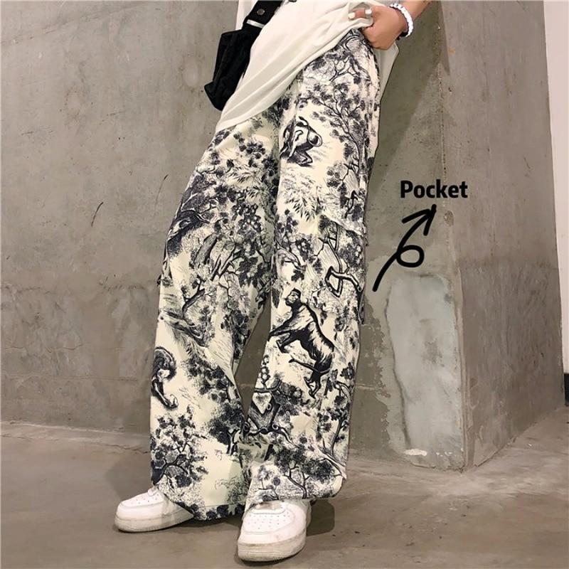 Graffiti Print Vintage Pants For Women Korean Punk Trouser Women Pocket Jogger Mujer Harajuku Streetwear Hip Hop Track Pant