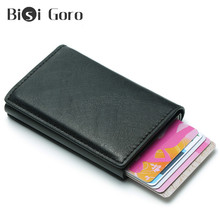 BISI GORO Rfid Men Wallets For Credit Holder Money Bag Male Vintage Black Short Wallets 2019 Leather Slim Wallets Mini Wallets