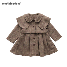 Mudkingdom Winter Autumn Toddler Kids Baby Girls Coat Warm Wool  Brown Plaid Overcoat Girls Kids Outwear Jacket