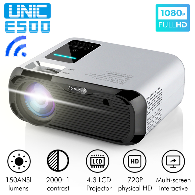 New UNIC E500 150 Inch 1280x720P 6000 Lumens LCD Projector 1080P Full HD HDMI WIFI Home Theater Android Proyector LED PK CP600