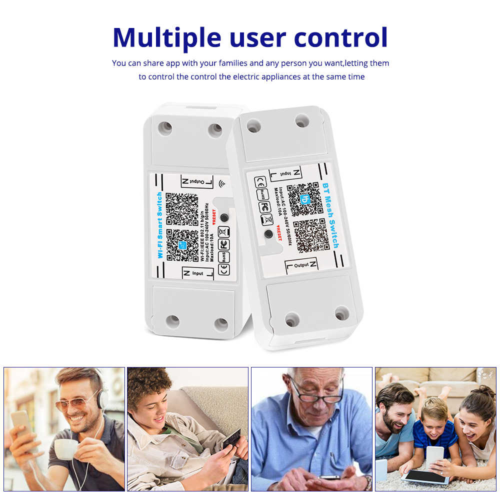 Sihirli kablosuz WiFi Bluetooth anahtarı 10A 100-240V akıllı ev otomasyon röle modülü uzaktan kumanda denetleyicisi android IOS