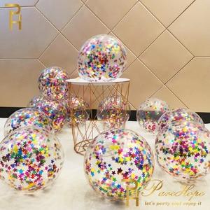 10pcs Star Confetti Balloons Metallic Foil Confetti Latex Transparent Balloon Baby Shower Birthday Party Wedding Decoration Ball(China)