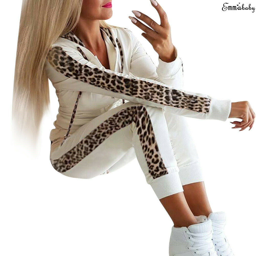 Fashion Casual 2Pcs Women Leopard Long Seleeve Hoodies Sports Tops Pants Tracksuit Sweatshirt Sweat Suit Jogging Clothes Set