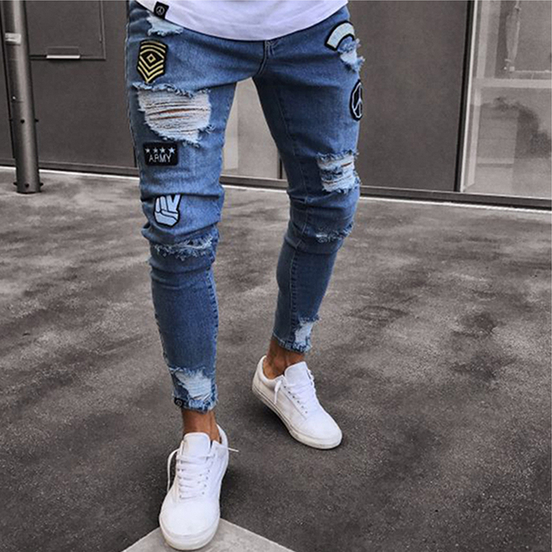 2019 Men's Stretchy Ripped Skinny Biker Jeans Destroyed Slim Fit Denim Pants Mens Elastic Waist Harem Pants Men Jogger S-4XL