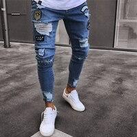2019 Men's Stretchy Ripped Skinny Biker Jeans Destroyed Slim Fit Denim Pants Mens Elastic Waist Harem Pants Men Jogger S 4XL