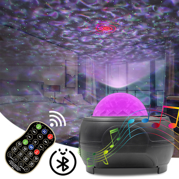 USB LED Star Night Light Music Starry Water Wave LED Projector Light Bluetooth Sound-Activated Projector Light Decor Gifts usb night projector ocean wave projector music starry sky projector kids room decoration night lamp bluetooth sound activated
