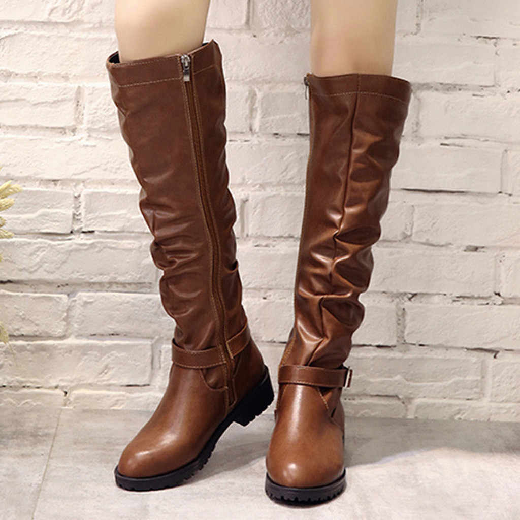 women's boots winter and autumn genuine PU Women Zipper Square Heel Solid Color High Boots Knee-High Shoes Round Toe Boots