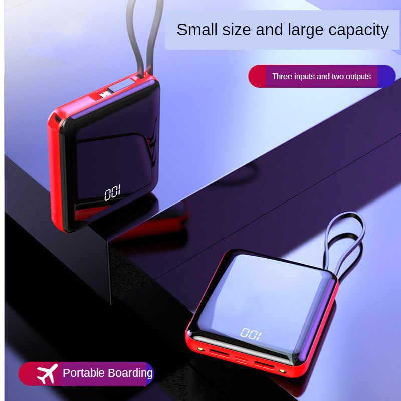 Minibanco de energía de 30000mAh, pantalla Digital de luces LED con Cables integrados, batería externa, Cargador rápido portátil ultradelgado