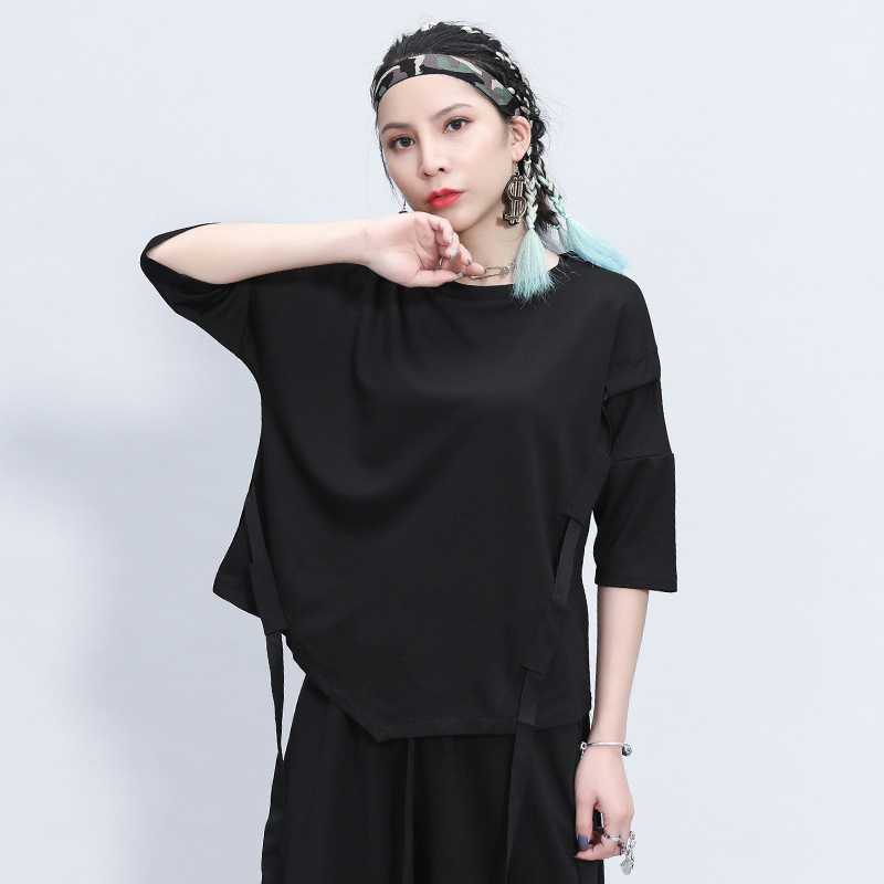[EAM] Women Black Ribbon Split Big Size T-shirt New Round Neck Three-quarter Sleeve  Fashion Tide  Spring Summer 2020 1Z355 2