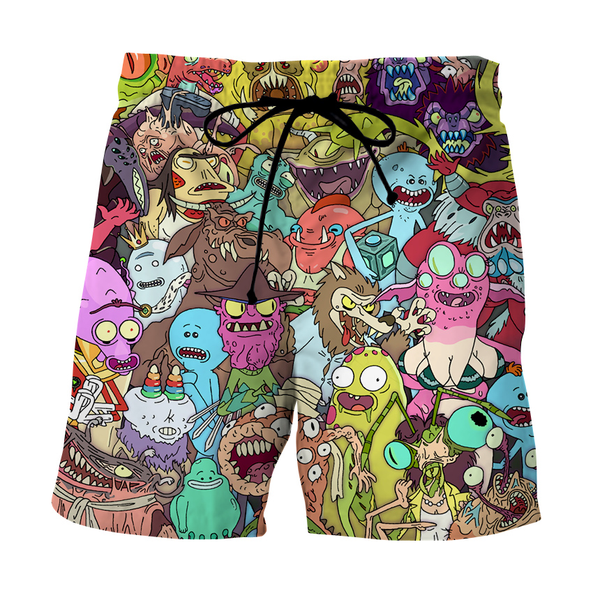 Image 4 - 2020 NEW Fashion Mens Rick and Morty Casual Shorts Summer Short Loose Trousers For Men  3D Print anime  beach shortsBoard Shorts   -
