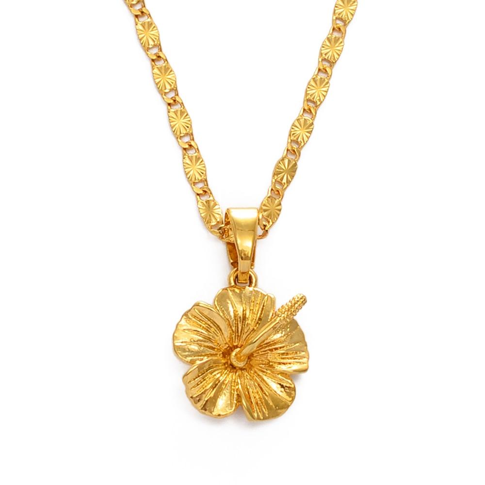 Anniyo Hawaiian Flower Hibiscus Pendant Necklace Marshallese Kiribati Guam Micronesia Chuuk Pohnpei Jewelry Wedding gift #239606