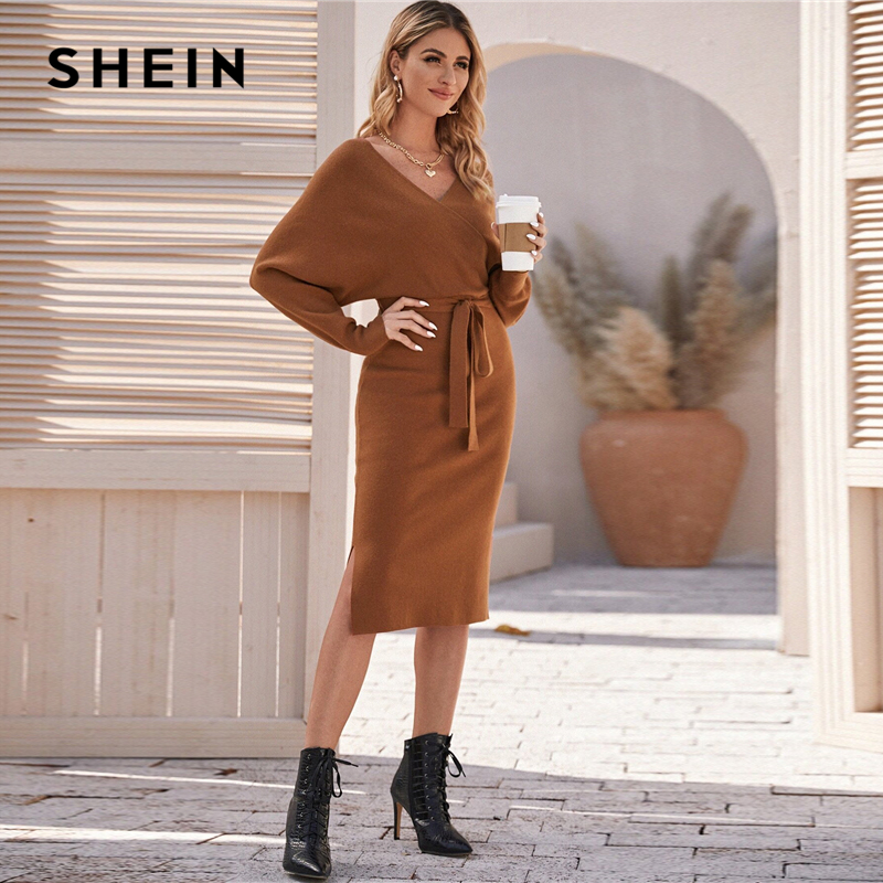 SHEIN Brown V Neck Cut Out Back Sweater Dress With Belt Women Spring Batwing Sleeve Solid WraP Front Stretchy Elegant Dresses 1