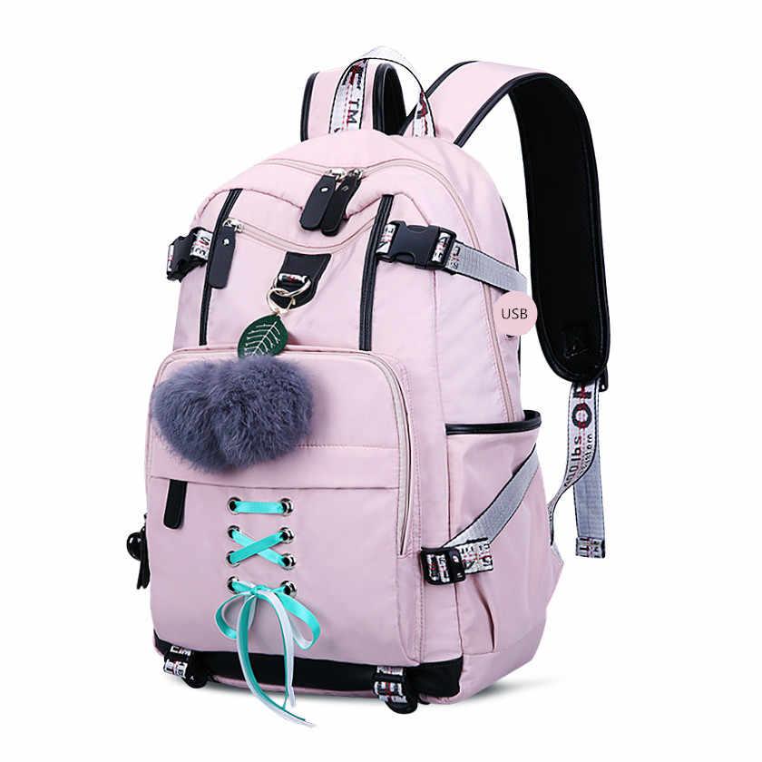 OKKID torby do liceum dla nastoletnich dziewcząt duży plecak szkolny kobieta podróżny plecak na laptopa 15.6 usb charge bag pluszowa piłka prezent