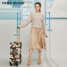 Vero Moda женское винтажное Стильное трикотажное бархатное плиссированное платье из двух частей   319446541