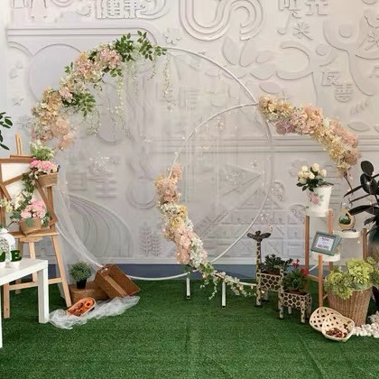 wedding : grand-event  geometric props backdrops arch flower outdoor lawn flowers door balloons rack iron circle Wedding arch sash holders