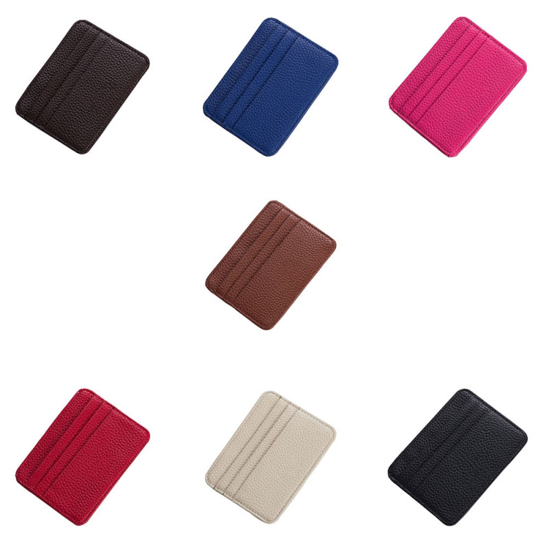 Leather Card Case Men Thin Card Wallet ID Credit Cards Holder Organizer Minimalist Wallet