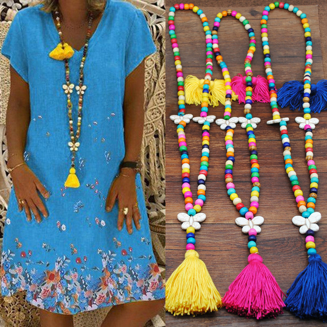 Yumfeel New Bohemian Necklace Handmade Stones Tassels Wood Beads Necklace Long Women Jewelry Gifts 5