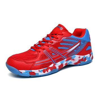 Mężczyźni kobiety buty do siatkówki oddychające buty do siatkówki odporne na zużycie buty do siatkówki Unisex lekkie buty do badmintona tanie i dobre opinie Mozbon CN (pochodzenie) Na twardy kort Zaawansowane Masaż 53464 RUBBER Skórzane Sznurowane ELASTYCZNE Dobrze pasuje do rozmiaru wybierz swój normalny rozmiar