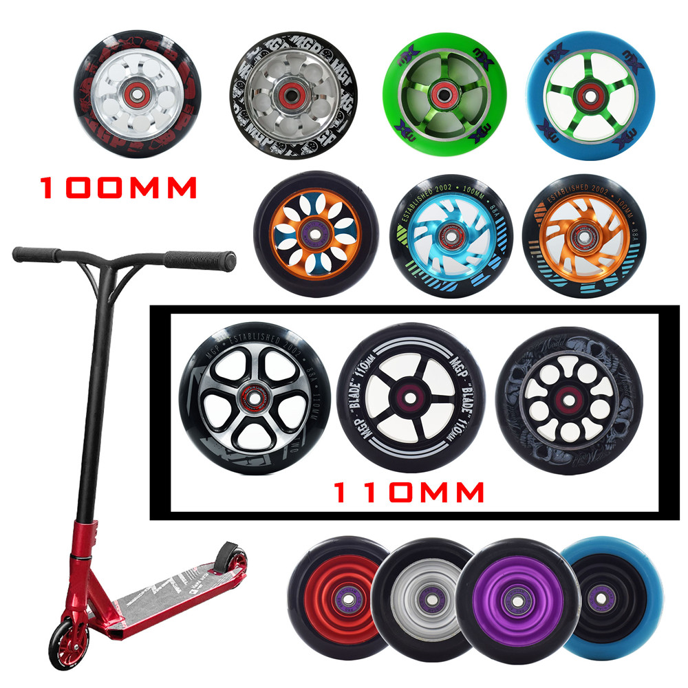 88A durable iron hub alloy scooter wheel 100MM steel scooter tyre with 24mm thickness 110MM 100 110 speed skating ruedas 2pcs