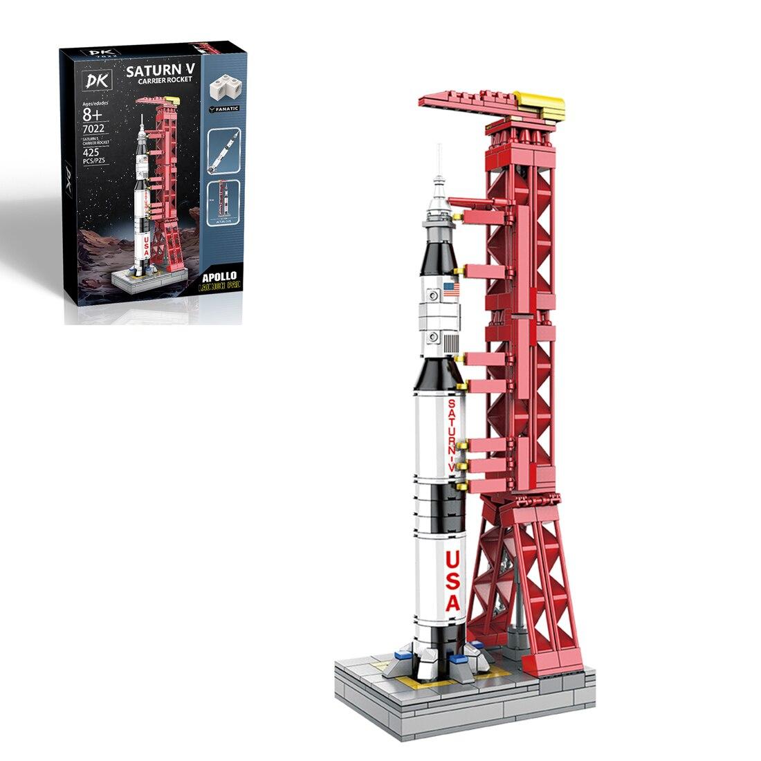 425 шт., конструктор MOC Technic Apollo Project, лунный кирпич, игрушки, Сатурн V-Carrier, ракета, сделай сам, мелкие детали, модель, игрушка, подарок на возраст 8...