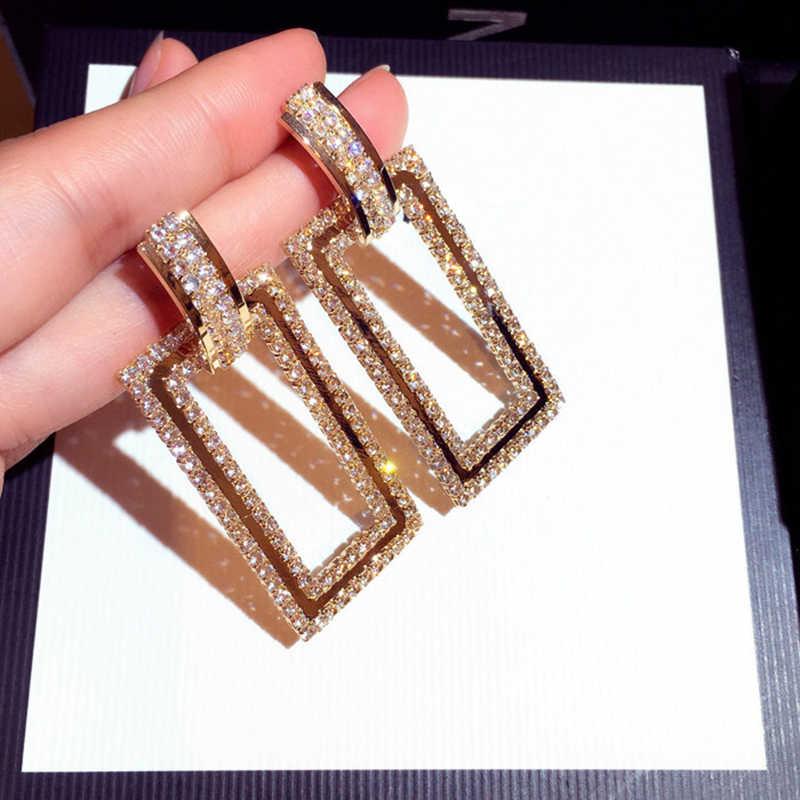 Luxe Kristal Vierkante Oorbellen Voor Vrouwen Wedding Party Verklaring Oorbellen Opknoping Geometrische Mode Vrouwen Oorbellen