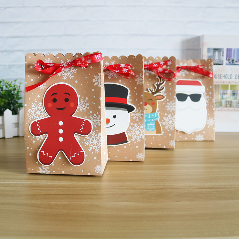 4/8pcs Christmas Box Gift Big Size Kraft Cookie Bag Merry Christmas Box And Packaging Gift Box Home Decoration