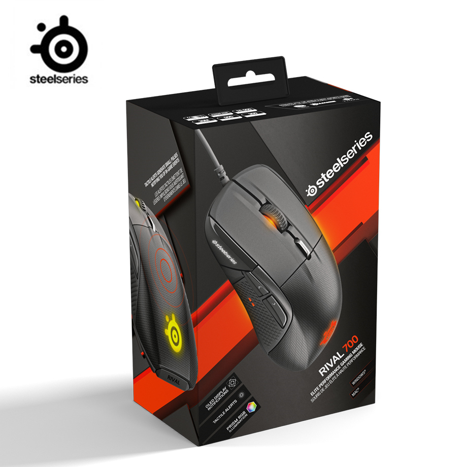 SteelSeries Rival 700 Gaming Mouse USB Wired Mice 6500 DPI Optical Mouse Black Edition For FPS RTS MMO LOL Gamer Cheap image