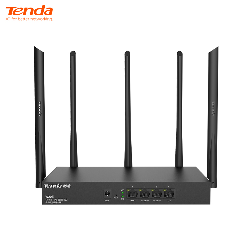 <font><b>Tenda</b></font> W20E AC1350M Wireless WiFi Router with 2.4G/5.0G High Gain Antenna Dual Band Wifi Repeater,App Control,VPN image
