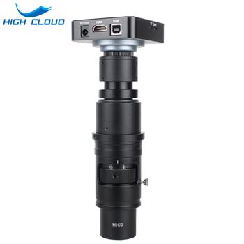 Full HD 38MP 1080P 2K 60FPS HDMI USB elektroniczny kamera z mikroskopem wideo 10X-300X pełną koncentrację Zoom C mocowanie obiektywu do naprawa spawalnicza tanie i dobre opinie HIGH CLOUD CN (pochodzenie) 500X i Pod WD 180X-300X Metal Wysokiej Rozdzielczości PORTABLE Cyfrowy Mikroskop wideo Monokularowy
