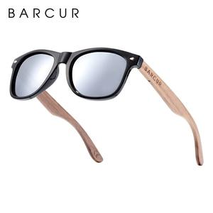Image 4 - BARCUR High Quality Black Walnut Sunglasses Anti Reflecti Men Women Mirror Sun Glasses Male UV400 Wooden Sunglass Shades Oculos