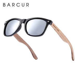 Image 4 - BARCUR באיכות גבוהה אגוז שחור משקפי שמש נגד Reflecti גברים נשים מראה שמש משקפיים זכר UV400 עץ גווני משקפי שמש Oculos