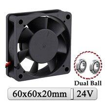 2Pcs Gdstime 24V 60x60x20mm 60mm Dual Ball DC Axial Industriellen Fall Kühlkörper 60x20mm 6cm Bürstenlosen Auspuff 3D Drucker Kühler Fan