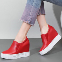Tennis Shoes Womens Oxfords Genuine Leather Platform Wedges High Heel Pumps Round Toe Creepers Punk Trainers Casual
