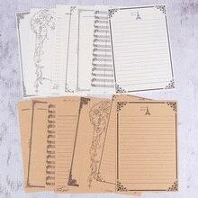 8 piezas Vintage carta papel Kraft 8 patrón Letterhead romántico amor carta papel estudiante papelería suministros