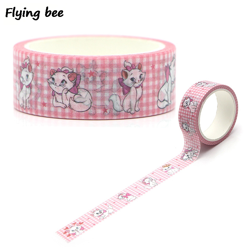 Flyingbee 15mmX5m The Cat Cute Cartoon Washi Tape Paper DIY Adhesive Tape Stationery Masking Tapes Supplies X0285