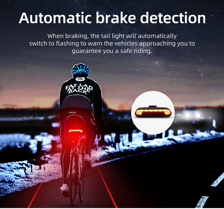 Wireless Bike light Brake Bicycle Rear Light laser taillight Smart USB Rechargeable Cycling Accessories Remote Turn led (6)