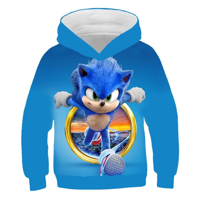 Kids Unisex Sweatshirts Hoodies Sonic The Hedgehog Cartoon Hoodie Trousers Set