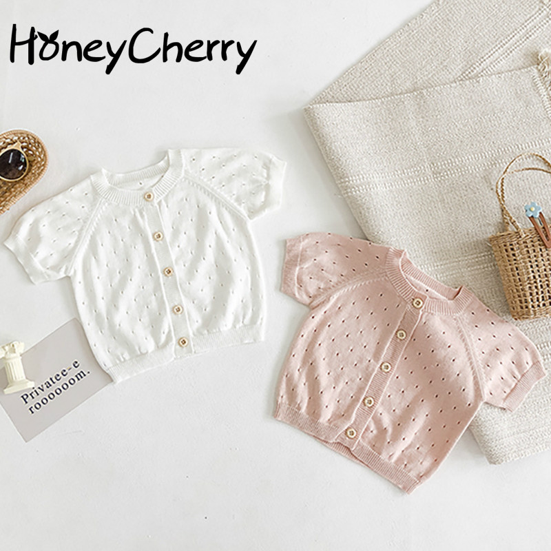 Summer newborn baby cardigan Baby Girl Sweet Princess Solid Color Short-Sleeved Knitted Hollow Thin cardigan