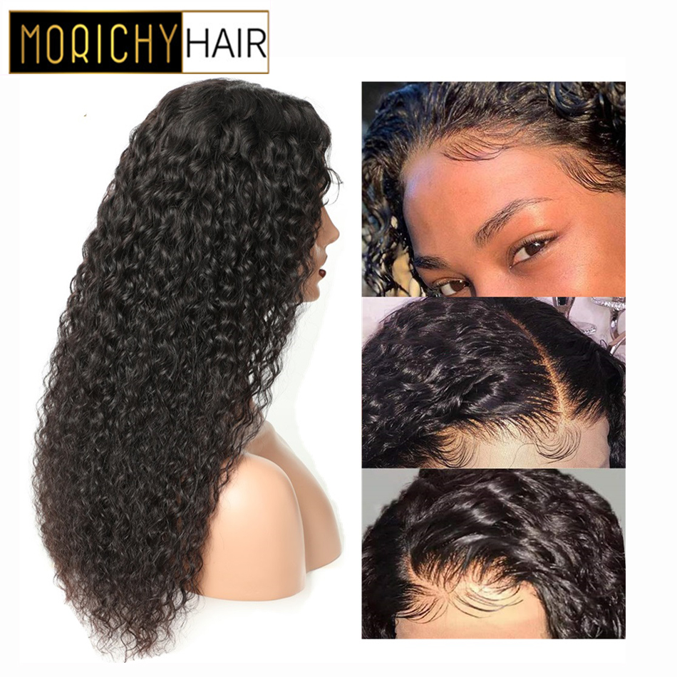 Morichy Kinky Curly 13x4 Lace Frontal Human Hair Wigs Pre Plucked Hairline With Baby Hair Indian Lace Frontal Human Hair Wigs